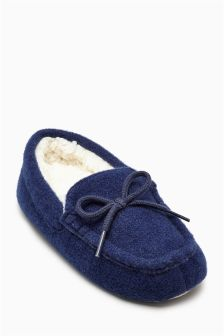 Navy Moccasin Slippers (Older Boys)