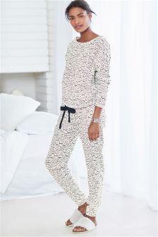 Monochrome Love Print Jersey Pyjamas