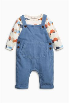 Blue Cord Dungarees (0mths-2yrs)