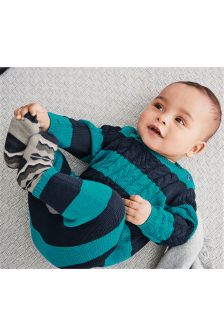 Teal/Navy Stripe Knit Romper (0mths-2yrs)