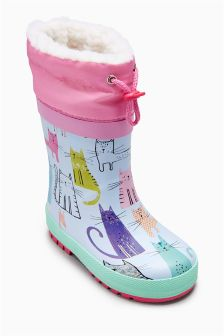 Multi Toggle Print Wellies (Younger Girls)