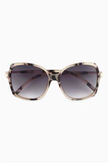 Pale Tortoiseshell Effect Square Sunglasses