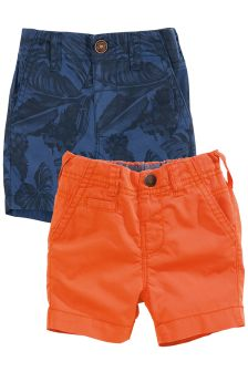 Blue Print/Orange Casual Chino Shorts Two Pack (3mths-6yrs)