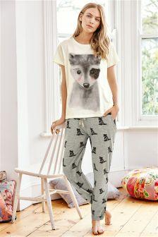 Grey Racoon Cuffed Pyjamas