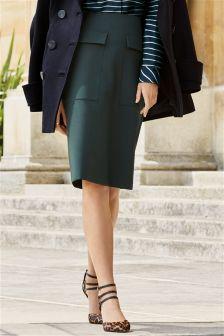 Green Pocket A-Line Skirt
