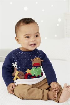 Navy Christmas Jumper (0mths-2yrs)
