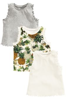 Grey/White Pineapple Vests Three Pack (3mths-6yrs)