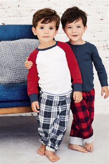 Red/Navy Check Pyjamas Two Pack (9mths-8yrs)