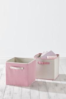 Set Of 2 Light Pink Storage Cubes