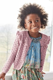 Lilac Pointelle Sparkle Cardigan (3-16yrs)