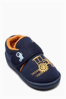 Navy Tractor Slippers (Younger Boys)