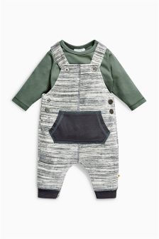 Grey Velour Dungarees (0mths-2yrs)