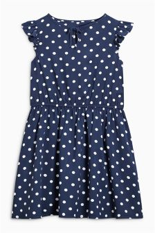 Navy Spot Dress (3-16yrs)