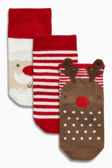 Red Christmas Socks Three Pack (Younger Boys)