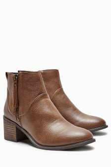 Zip Block Heel Ankle Boots
