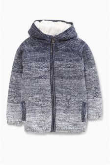 Blue Borg Lined Hooded Zip Through (3-16yrs)