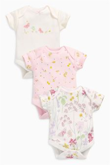 Ecru/Pink Short Sleeve Floral Bodysuits Three Pack (0mths-2yrs)