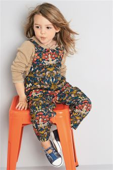 Multi Floral Dungarees And T-Shirt (3mths-6yrs)