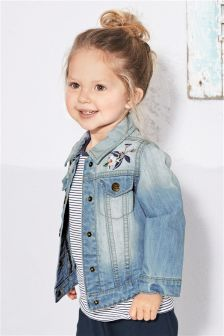 Mid Blue Floral Embroidered Denim Jacket (3mths-6yrs)