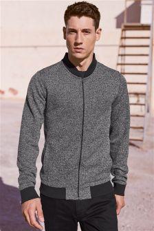 Grey Fabric Interest Bomber Jacket
