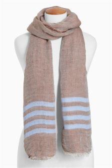 Mink Stripe Linen Rich Scarf