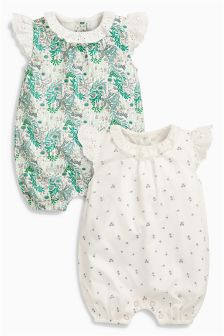 ECRU Printed Rompers Two Pack (0mths-2yrs)