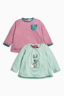Mint Bunny T-Shirts Two Pack (0mths-2yrs)