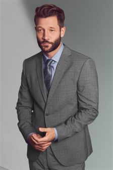 Light Grey Textured Tailored Fit Suit: Jacket