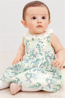 Ecru Floral Print Prom Dress And Knickers (0mths-2yrs)