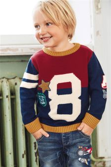 Red Appliqué 8 Crew Neck Jumper (3mths-6yrs)