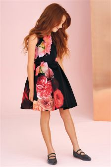 Black Floral Prom Dress (3-14yrs)