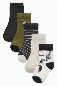 Grey Socks Five Pack (Younger Boys)