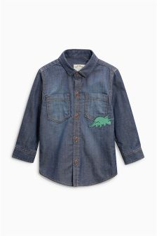 Denim Dinosaur Embroidered Shirt (3mths-6yrs)
