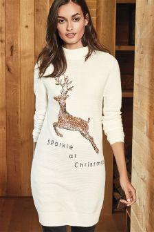 Ecru Sequin Reindeer Tunic
