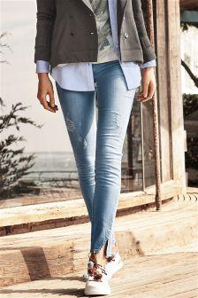 Split Hem Skinny Jeans