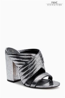 Silver Signature Leather Mules
