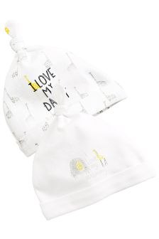 White Giraffe Mummy And Daddy Tie Top Hats Two Pack (0-12mths)