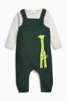 Green Giraffe Knit Dungarees (0mths-2yrs)