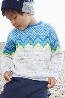 Blue/Grey Chevron Knit Look Jumper (3mths-6yrs)