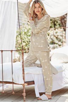 Oatmeal Cosy Swan Print Pyjamas