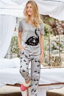 Grey Swan Print Pyjamas