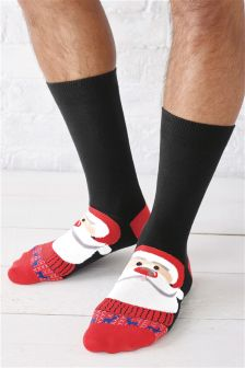 Black Santa And Rudolph Socks Two Pack