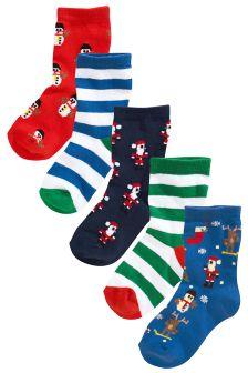 Blue Christmas Socks Five Pack (Older Boys)