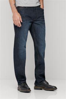 Raw Denim Leather Trim Jeans