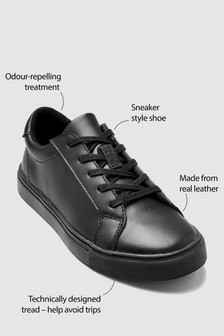 Black Clean Lace-Up Shoes (Older Boys)