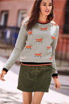 Khaki Jumbo Cord Skirt