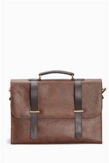 Brown Signature Leather Briefcase