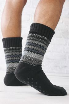 Monochrome Fairisle Pattern Slipper Socks