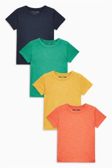 Yellow/Navy/Orange/Green Short Sleeve Havana T-Shirts Four Pack (3mths-6yrs)