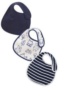 Navy Bear Regular Bibs 3 Pack